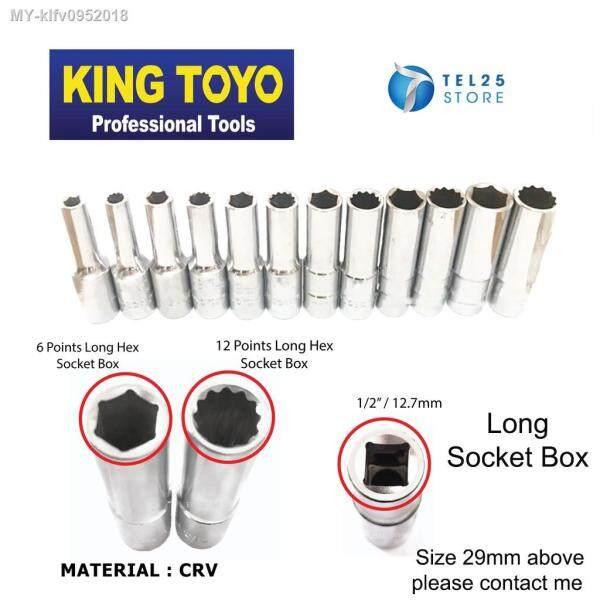 [ 1 UNIT ] King Toyo Deep Length 1-2- Chrome 6PT - 12PT Socket Box 8mm-32mm ( LONG SOCKET WRENCH )