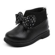 Giày Bốt Nữ BULL Năm Mới Giày Bốt Bé Gái Sơ Sinh Giày Bốt Cổ Ngắn Ấm Áp Thắt Nơ Cho Trẻ Sơ Sinh Trẻ Mới Biết Đi