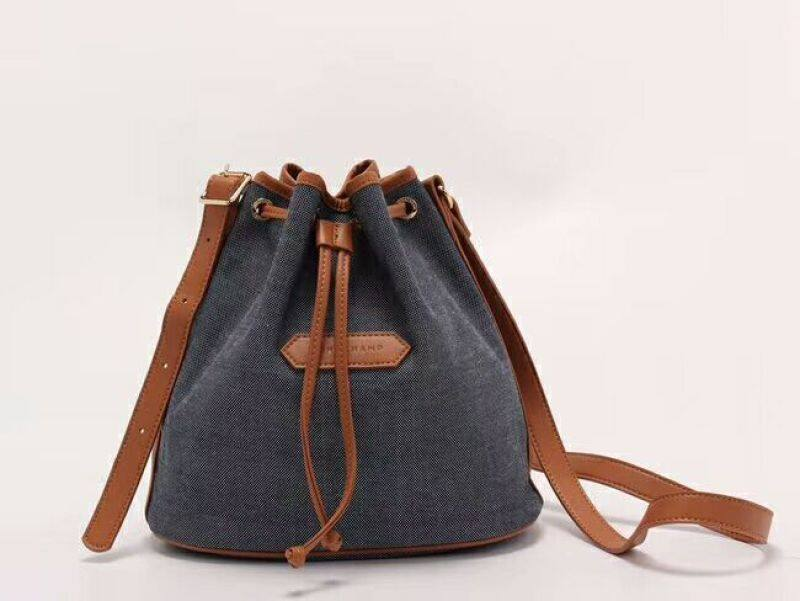 100% AUTHENTIC LONGCHAMP_Canvas handbag_Casual Bucket Bag_Commuter Lady Shoulder Bag Crossbody 2058614006 Gray blue - Made in France