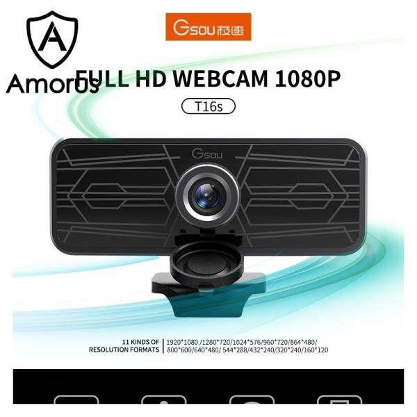 Amorus Gsou T16s 1080P HD Webcam with Webcam Cover Built-in Microphone for Online Classes Broadcast Conference Video