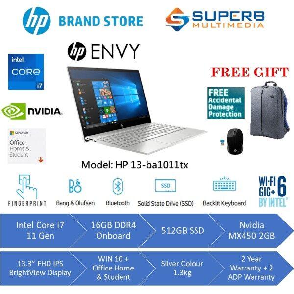 [PRE-ORDER] HP ENVY 13-ba1011tx laptop (Intel core i7 11gen, 16gb ddr4 ram, 512gb ssd, nvidia mx450 2gb, 13.3 inch FHD, win10, OPI, silver, 2yrs2adp) (ETA: 2020-12-31) Malaysia