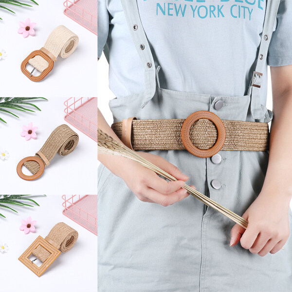 Giá bán ORNAMENT SCREEN79OR0 Casual Wooden Buckle Dress Belt Shirt PP Straw Jade Clasp Straw Belt Elastic Waist Chain Belly Necklace Body Jewelry