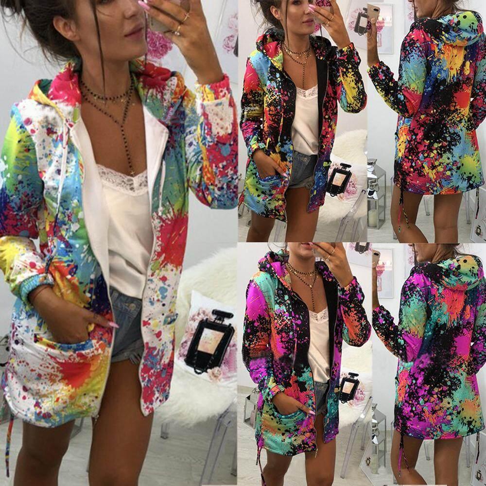 Pakaian Luar & Mantel Jaket Fashion Mewarnai Dasi Cetak Tahan Dr Hooded Sweatshirt Wanita Mantel Dan Jaket Mantel