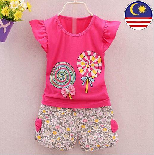 867c2509a Toddler baby girls clothing set lollipop top shirt and short pant-malaysia  ready stock