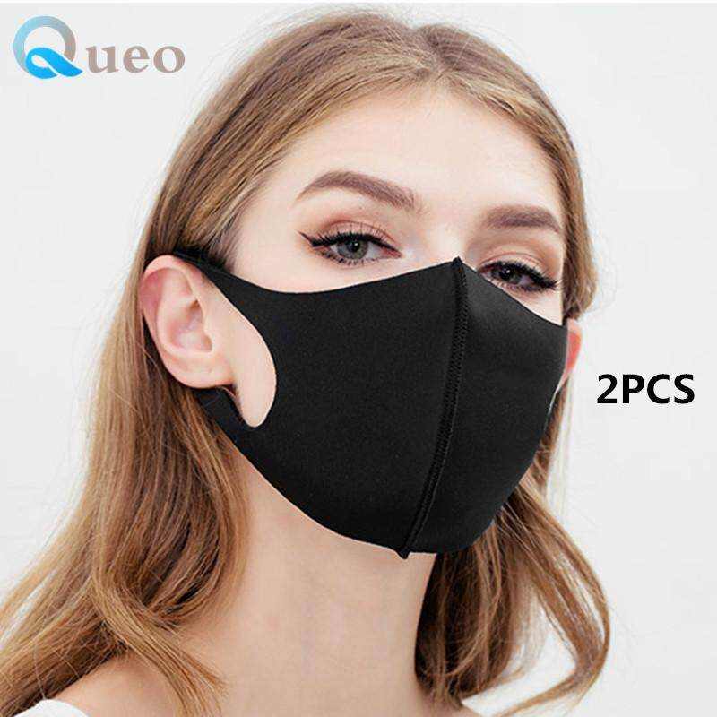 Queo 2PCS Outdoor Men women Breathable Mouth Mask PM2.5 Anti Haze Black Dust Mask Nose Filter Windproof Face Muffle Bacteria Flu Fabric Cloth Respirator