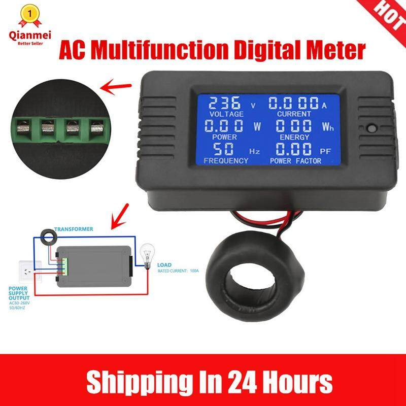 (Gold Certified Merchant)Qianmei PEACEFAIR PZEM-022 AC Digital Meter Power Energy Voltage Current Test With Closed Type CT 100A