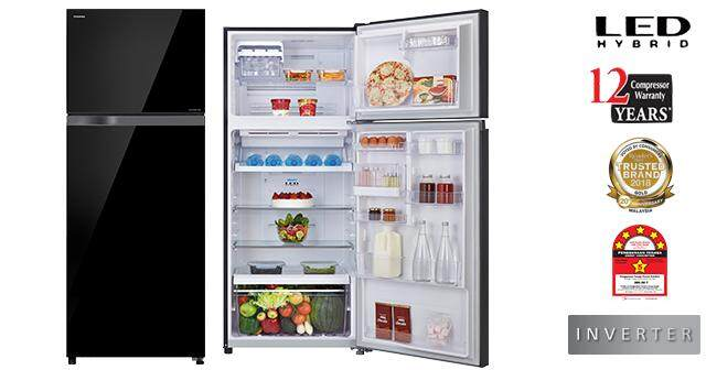 TOSHIBA 480L 2DOOR BLACK GLASS DOOR INVERTER FRIDGE GR-AG48MDZ (XK)