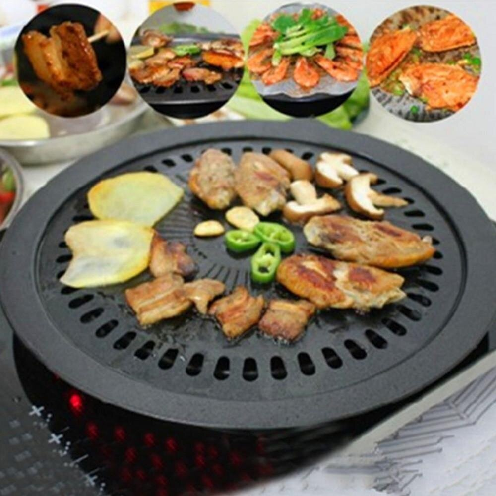 Round Iron Korean BBQ Grill Plate Barbecue Non-stick Pan Set with Holder Set