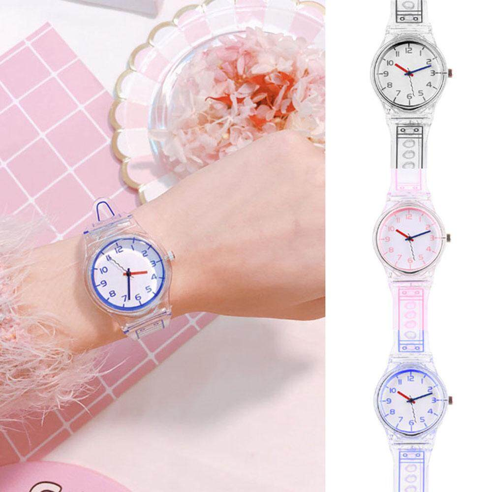Women Student Watch Jelly Color Transparent Small Fresh Refinement Quartz Wristwatches Malaysia