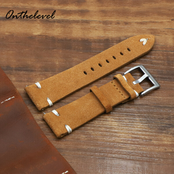 Flip hair quick release raw ear leather strap 18 20 22 24mm thick stitched brown suede leather strap Malaysia