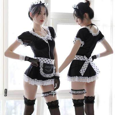 French Sexy Babydoll Lingerie Maid Lace Secretary Nightclub Women Servant Lace Costume Dress Cosplay Lolita Uniform Apron