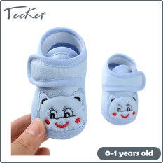 [Teeker] Giày Trẻ Sơ Sinh, Giày Bệt Vải Bông Mềm Chống Trượt Dễ Thương Cho Em Bé 3-12 Tháng