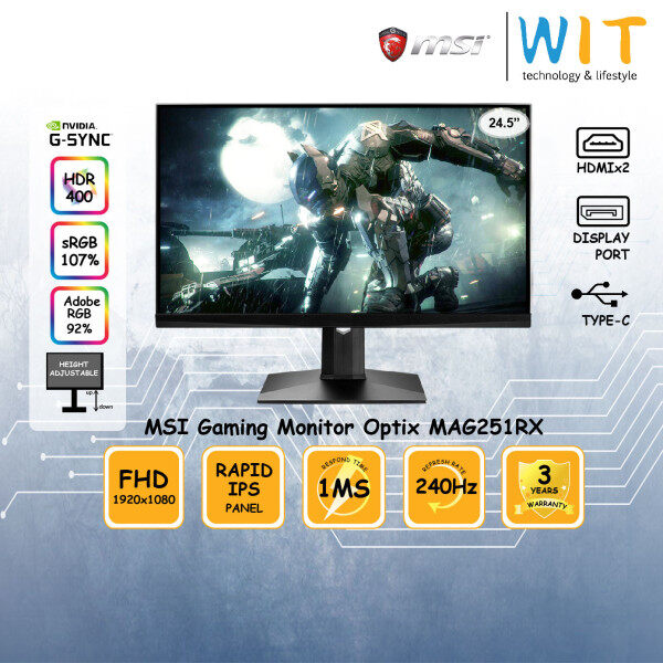 MSI Gaming Monitor Optix MAG251RX 24.5 / 1ms / 240Hz / FHD / Rapid IPS Panel / HDMIx2 / DP / Type-C / Height Adjustable Stand / HDR400 / sRGB 107% / Adobe RGB 92% / G-Sync Malaysia