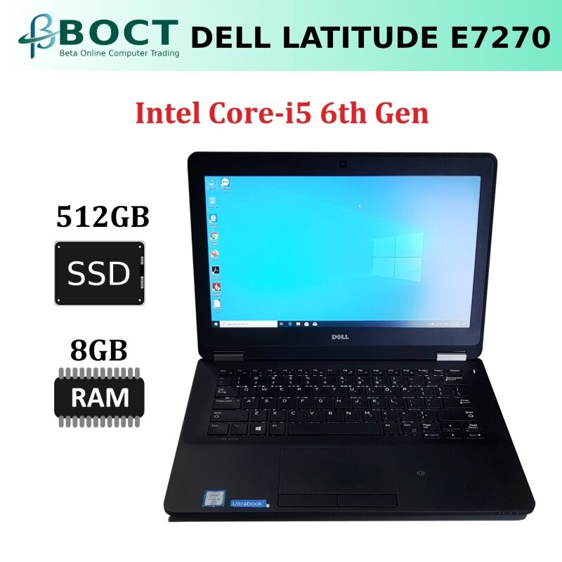 Dell Latitude E7270 / Intel Core i5 6th Gen / 12.5-inch screen HD / Optional Ram / Optional SSD / HDMI / Mini Display Port / Webcam / Windows 10 Pro / Refurbished Malaysia