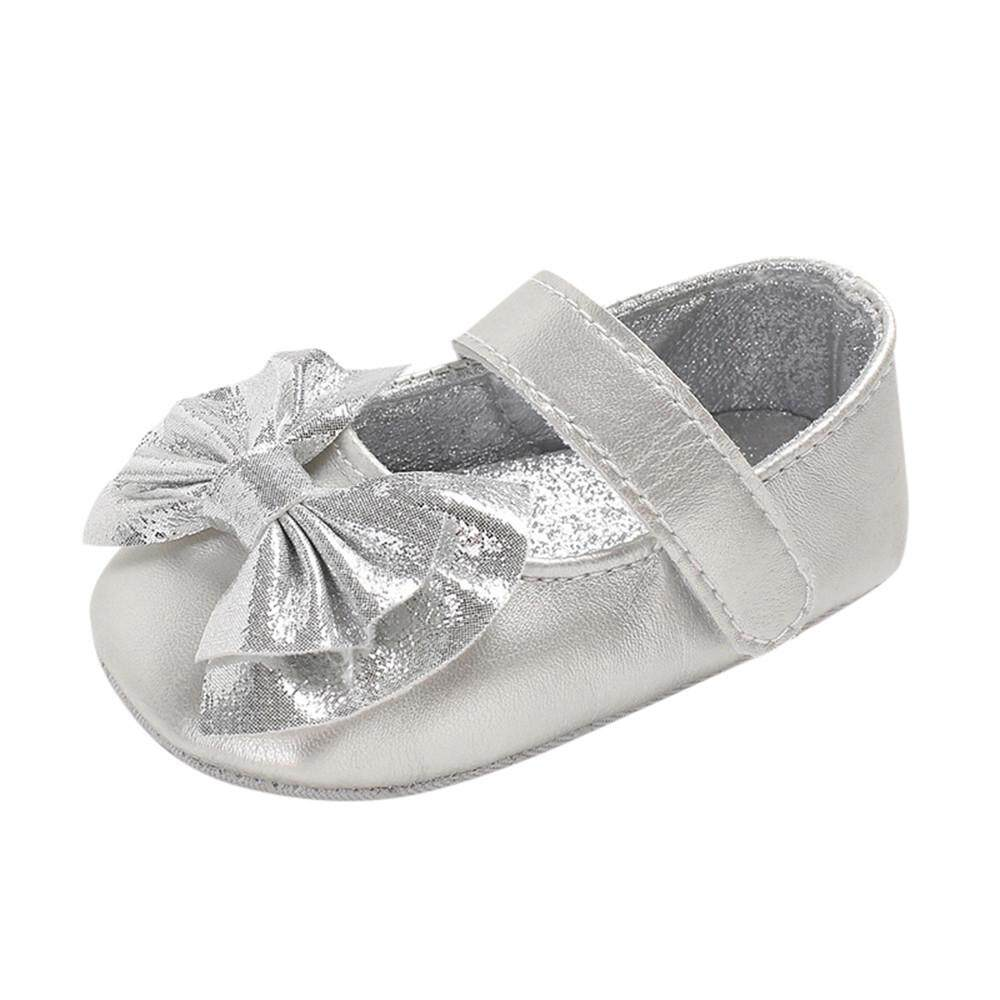 Newborn Infant Baby Girl Solid Applique Sequins Prewalker Soft Sole Single Shoes