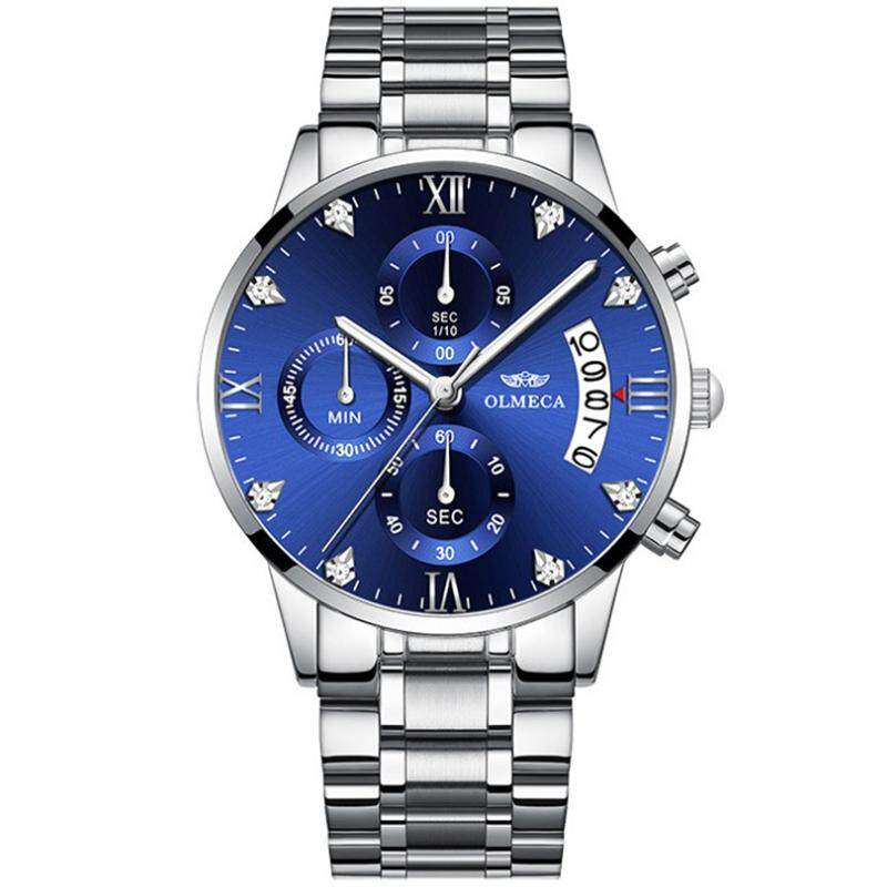 Business Fashion Stainless Steel Men Watch Jam Tangan Kalis Air Date Calendar Chronograph Watches Luxury Brand Quartz Waterproof Watch for Men Malaysia