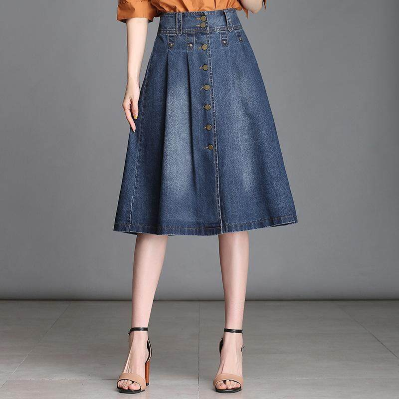 49e2c91ba2 Summer Denim Skirt for Women A-line Jean Skirts Knee Length Female High  Waist Button
