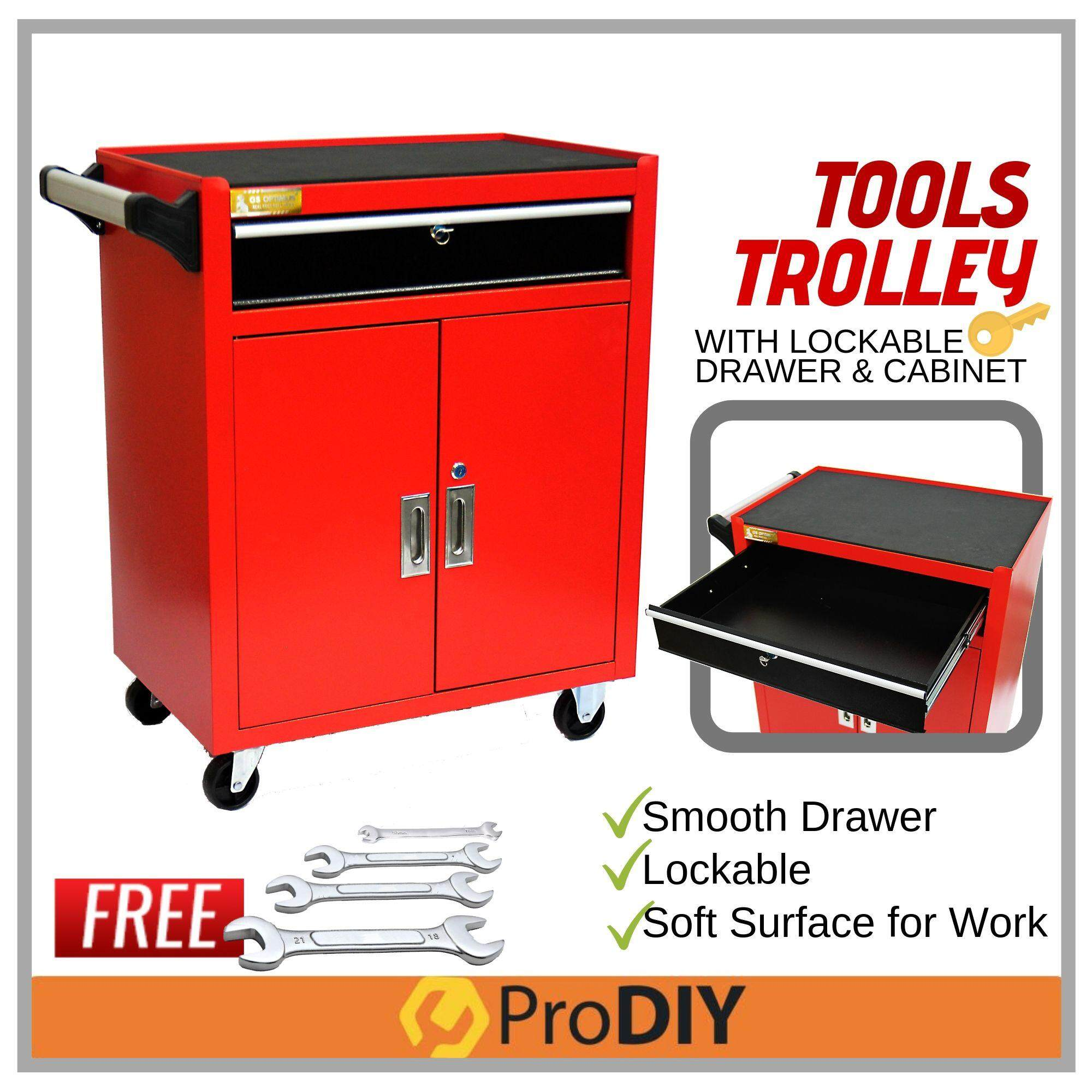 TOOL TROLLEY With 2 Tier Cabinet & 1 Single Drawer FOC 4x Wrench ( 31531-2 ) DJ-306