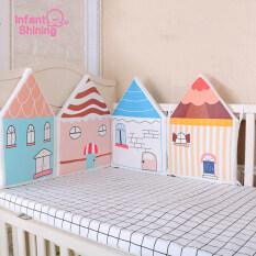 Bộ đệm giường cũi cho trẻ sơ sinh nhiều màu sắc họa tiết hoạt hình chống va chạm có thể giặt được – INTL