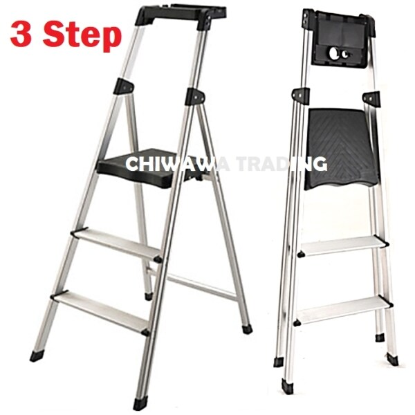 3 Steps Household Commercial Foldable Steel Ladder + Tool Tray Organizer / Tangga LD13