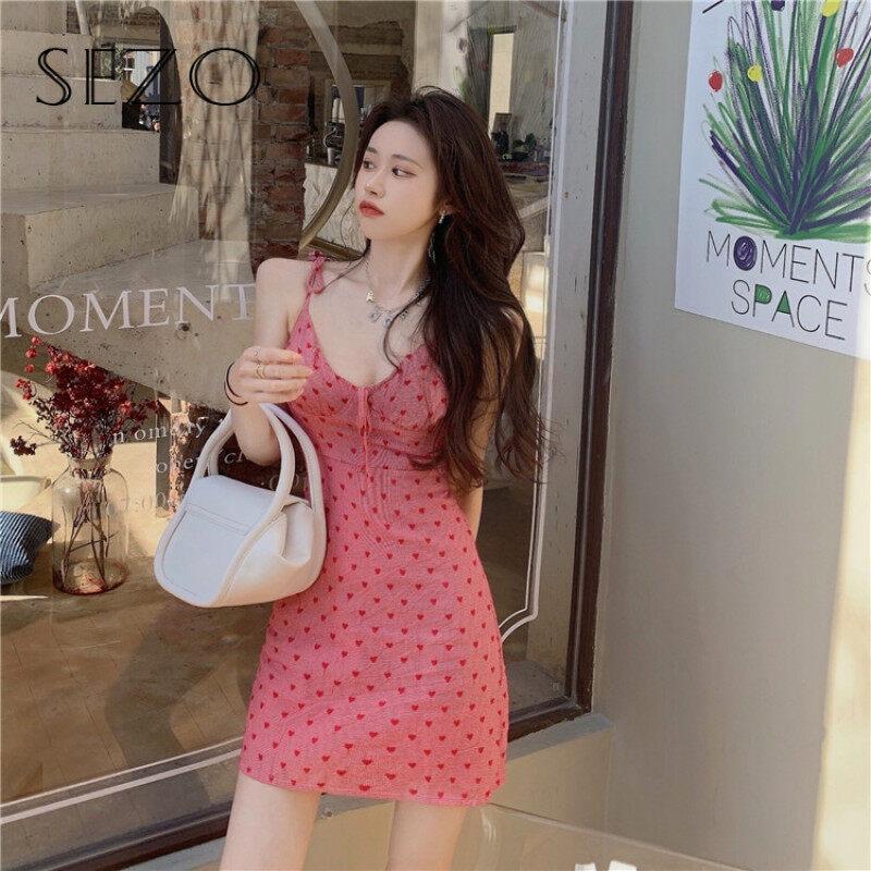 Nơi bán SEZO Đầm Hai Dây Ôm Sát Kẻ Ca Rô Tình Yêu Cổ Chữ V Gợi Cảm Mới, Nữ