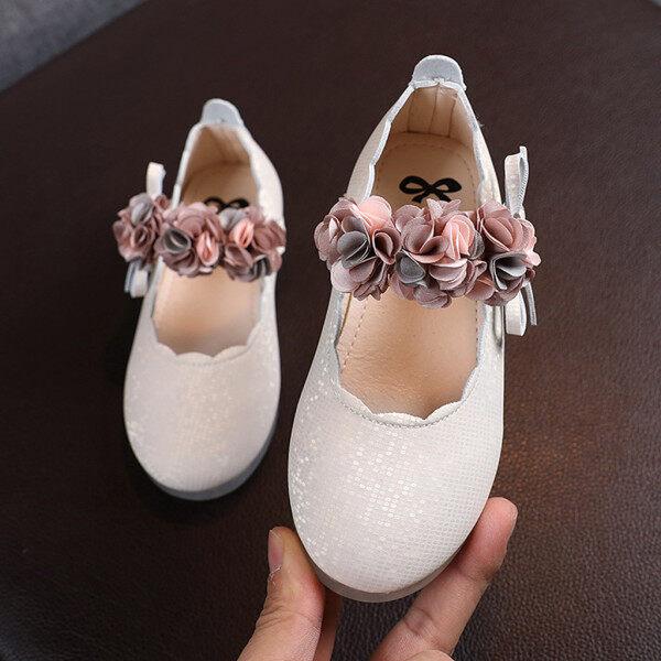 Giá bán Giày Công Chúa QQQ MALL Cho Bé Gái Dép Da Hoa Khiêu Vũ Giày Công Chúa Cho Bé Gái 15-18 Tháng Tuổi