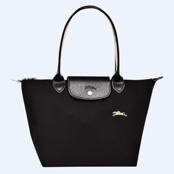 100%Authentic longchamp_Le Pliage Club Tote bag_Waterproof Dumpling Bag fashion handbag_70th anniversary embroidery folding nylon shoulder bag L2605619001_small_Black