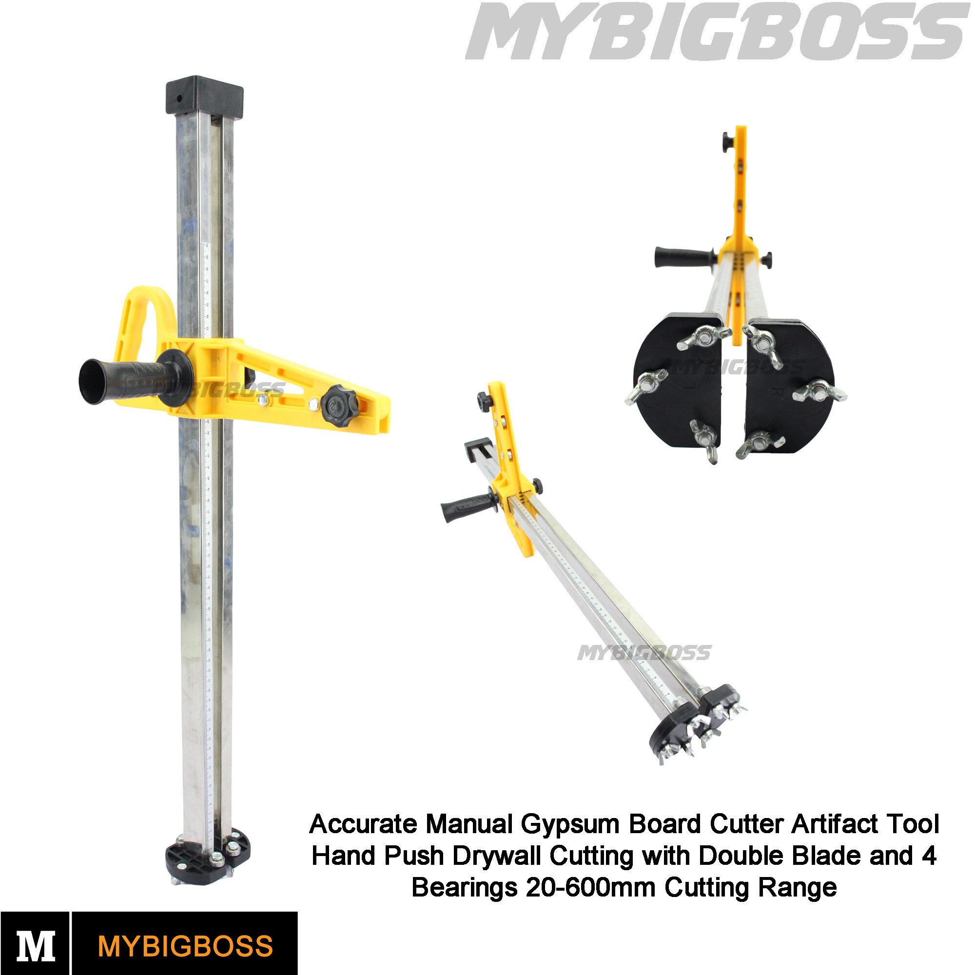 MY BIG BOSS - Manual High Accuracy Portable Gypsum Board Cutter Hand Push Drywall Cutting Artifact Tool with Double Blade and 4 Bearings 20-600mm Cutting Range