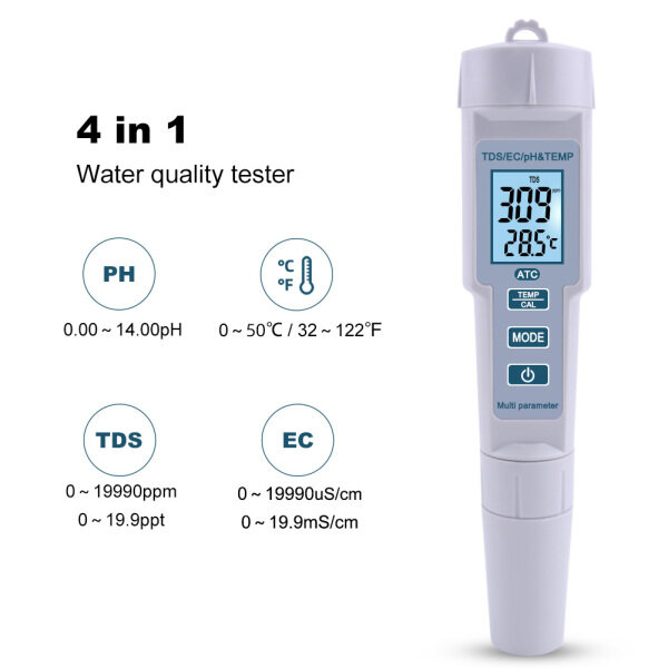 RCYAGO 4 in 1 pH/TDS/EC/Temperature Meter Water Quality Monitor Horticulture Water Quality Test Pen