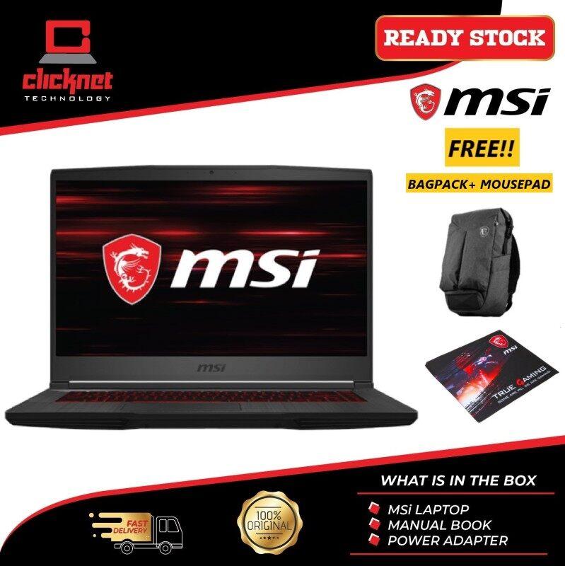 MSI Laptop Thin GF63 10SCXR-400 15.6-inch FHD Gaming ( i7-10750H, 8GB, 512GB SSD, GTX1650 Max-Q 4GB, W10 ) Malaysia
