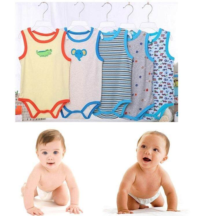 5pc Baby Boy Carter Singlet Romper (random Design) By 168 Concept Trading.