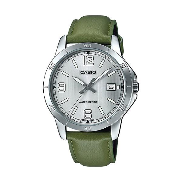 Casio Mens Standard Analog Green Leather Strap Watch MTPV004L-3B MTP-V004L-3B (watch for man / jam tangan lelaki / men watch / watch for men / casio watch for men / casio watch) Malaysia