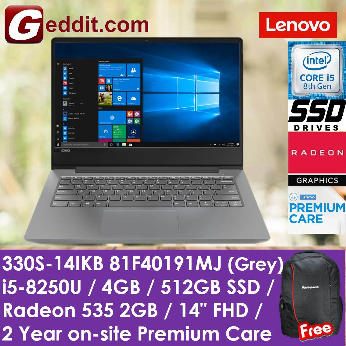 LENOVO 330S-14IKB 81F40191MJ NOTEBOOK (I5-8250U,4GB,512GB SSD,RADEON 535-2GB,14,W10,GREY) FREE LENOVO BACKPACK Malaysia