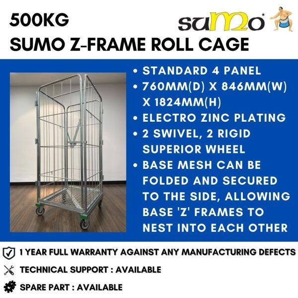 SUMO 500kg Z-Frame Standard 4 Panel Roll Cage Roll Container Logistics Trolley Warehouse Trolley Heavy Duty