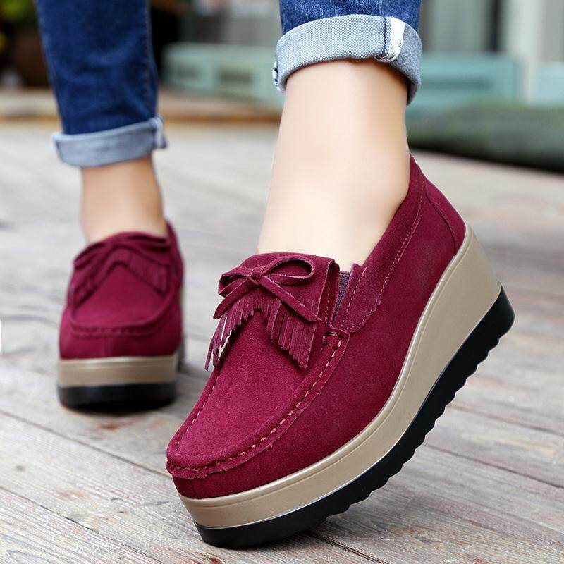 8d66d13116e8 Women Platform Shoes Genuine Leather Women Slip on Loafers