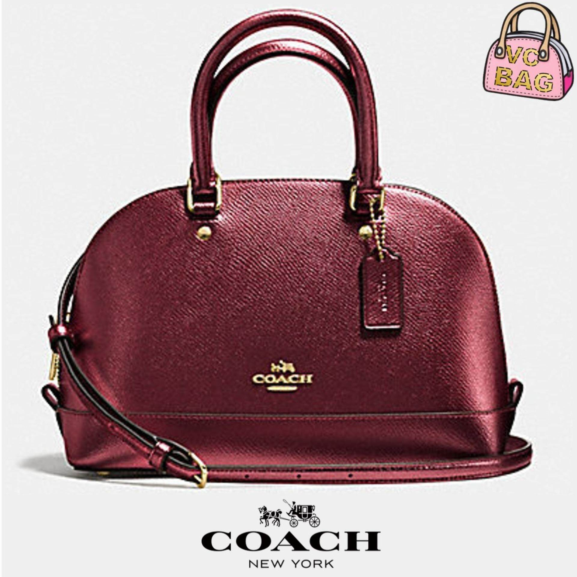 8847a25d31 COACH F56190 Mini Sierra Satchel in Metallic Crossgrain Leather Bag  [Imitation Gold/Cherry]