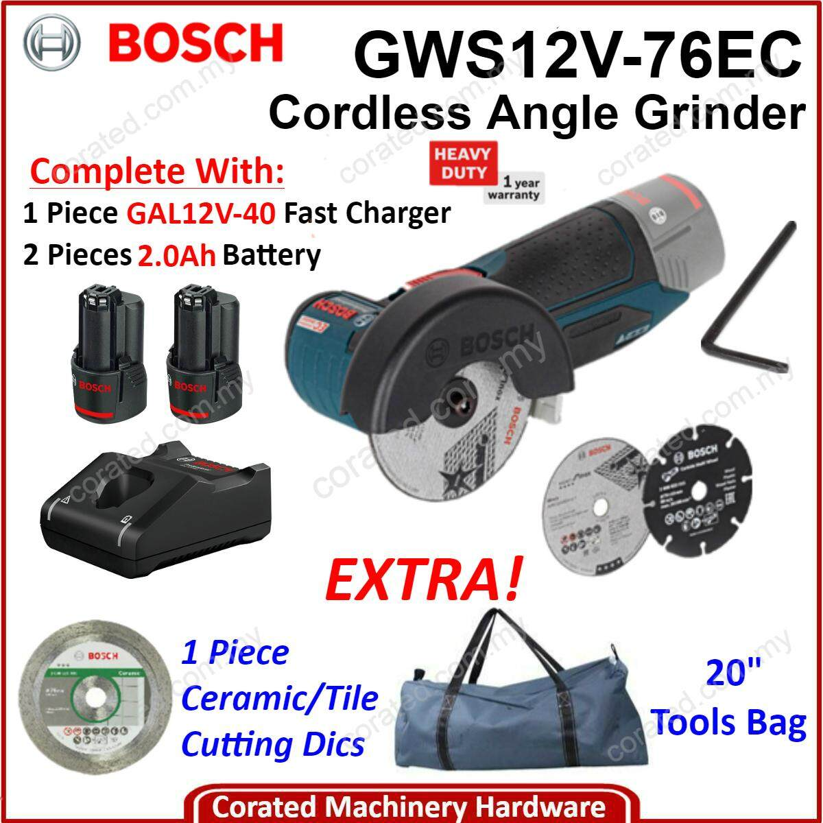 [corated]bosch Gws12-76v-Ec 76mm 12v Cordless Angle Grinder C/w 1pc Charger, 2pc 2.0a.h Battery,1pc 20 Tools Bag Gws 12-76v-Ec Gws 12-76v- Ec Gws 12- 76v- Ec By Corated Enterprises (m) Sdn Bhd.