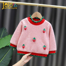 Áo len bé gái màu sắc nổi bật tôn da đính dâu tây đáng yêu chất liệu dày dặn mềm mại JOJO