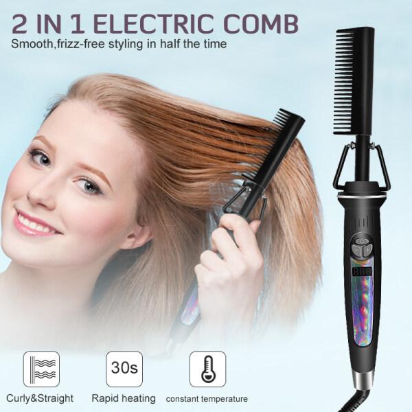 Buy Black gold hair comb Fast Smoothing Electric Hair Straightener Brush Ceramic Heating Temperature Singapore