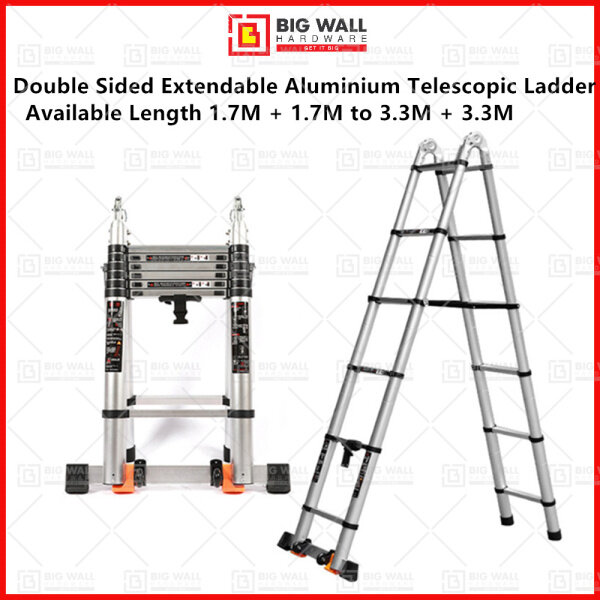 Double Sided Extendable Aluminium Telescopic Ladder Available Length 1.7M + 1.7M (4+4 steps) to 3.3M + 3.3M (8+8 steps)
