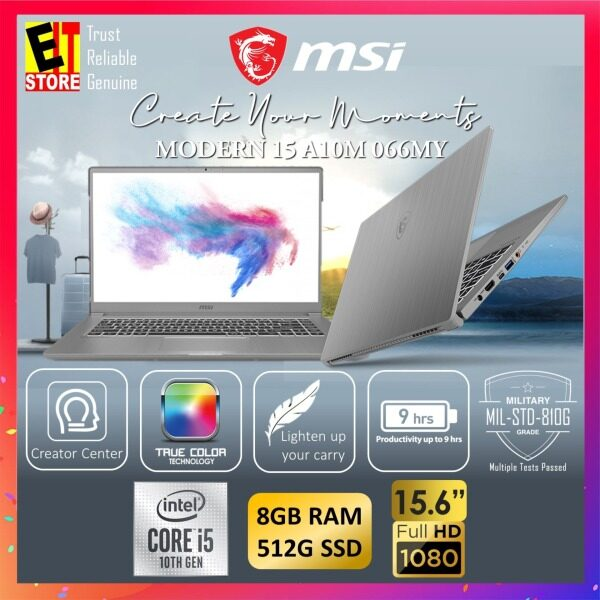 MSI MODERN 15 A10M 066MY CREATION LAPTOP -SPACE GREY (I5-10210U/8GB/512GB SSD/15.6 FHD/W10/1YR INTERNATIONAL) + SLEEVE Malaysia