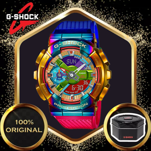 (Ready Stock) Jam Tangan Lelaki Original G Shock GM110 Men Sport Watch Dual Time Display 200M Water Resistant Shockproof and Waterproof World Time LED Auto Light Sports Wrist Watches with 2 Year Warranty GM-110RB-2A Malaysia