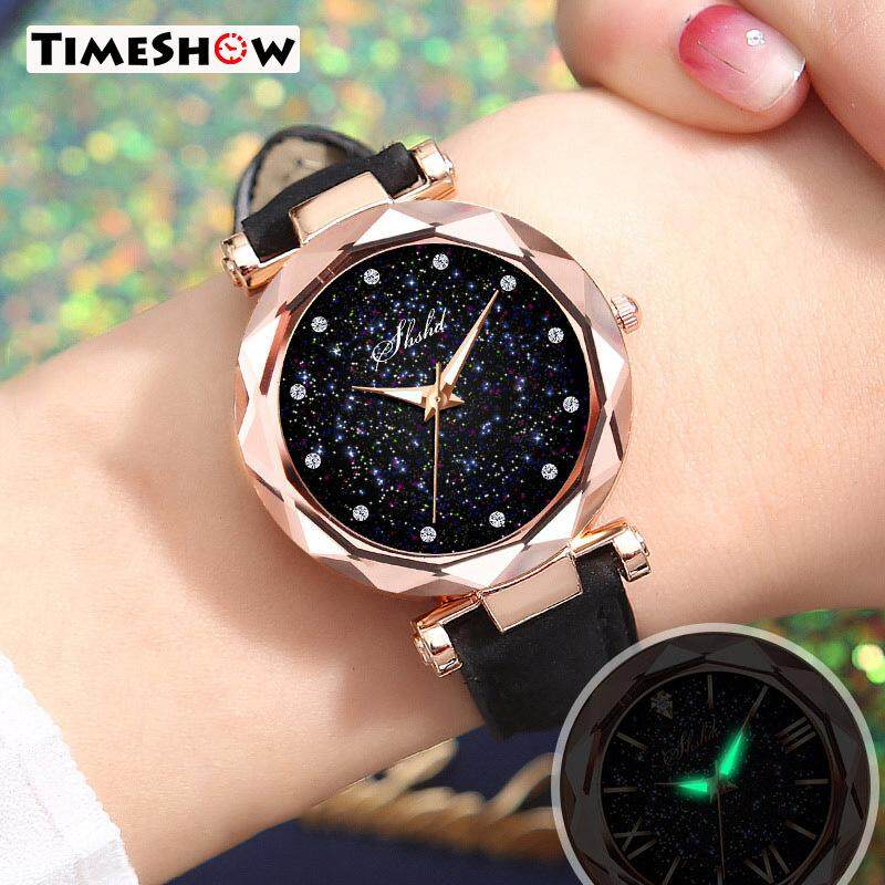 TimeShow Women Quartz Watch Round Star Dial Wrist Watch with Perforated Frosted Strap Malaysia