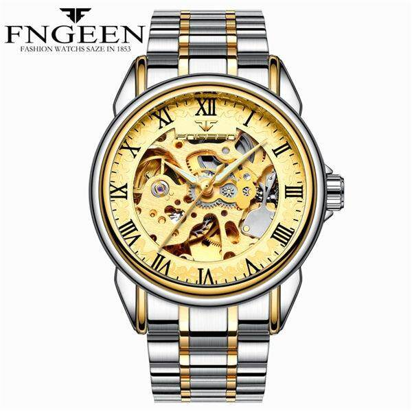 FNGEEN Men Luxury Skeleton Automatic Winding Mechanical Watches Gold Stainless Steel Waterproof Wristwatch Male Time hours 8866G Malaysia