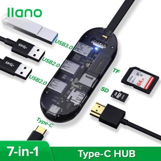 Llano Trạm Nối Trong Suốt 7 Trong 1 Type-C, Bộ Chuyển Đổi USB3.0 Sang HTMI Dành Cho Huawei,Lenovo,MacBook Và Hơn Thế Nữa thumbnail