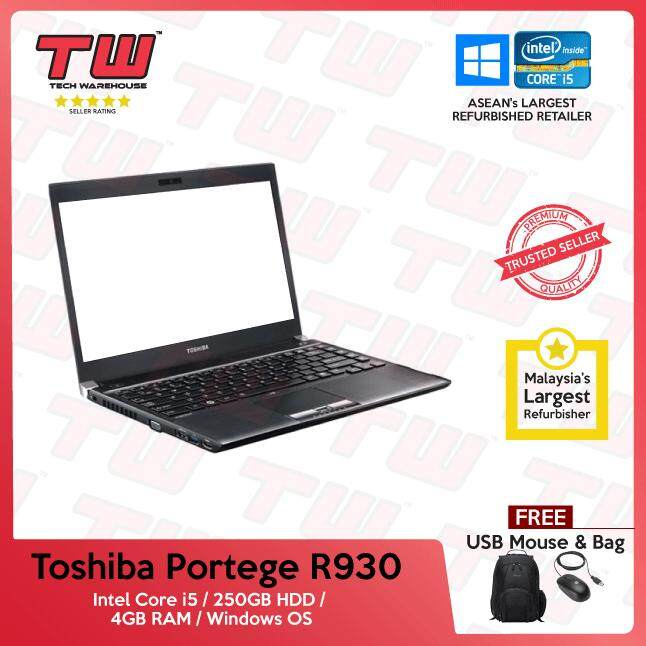 Toshiba Portege R930 Core i5 / 4GB RAM / 250GB HDD / Windows OS Laptop / 3 Months Warranty (Factory Refurbished) Malaysia