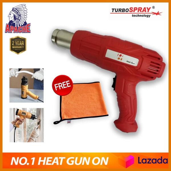 【DESIGNED IN USA】APACHE HeatMAX® Heat Gun 2200W Heavy Duty Hot Air Gun Kit Variable Temperature Control with 2-Temp Settings 4 Nozzles (50℃- 650℃) with Overload Protection for Crafts Shrinking PVC Stripping Paint