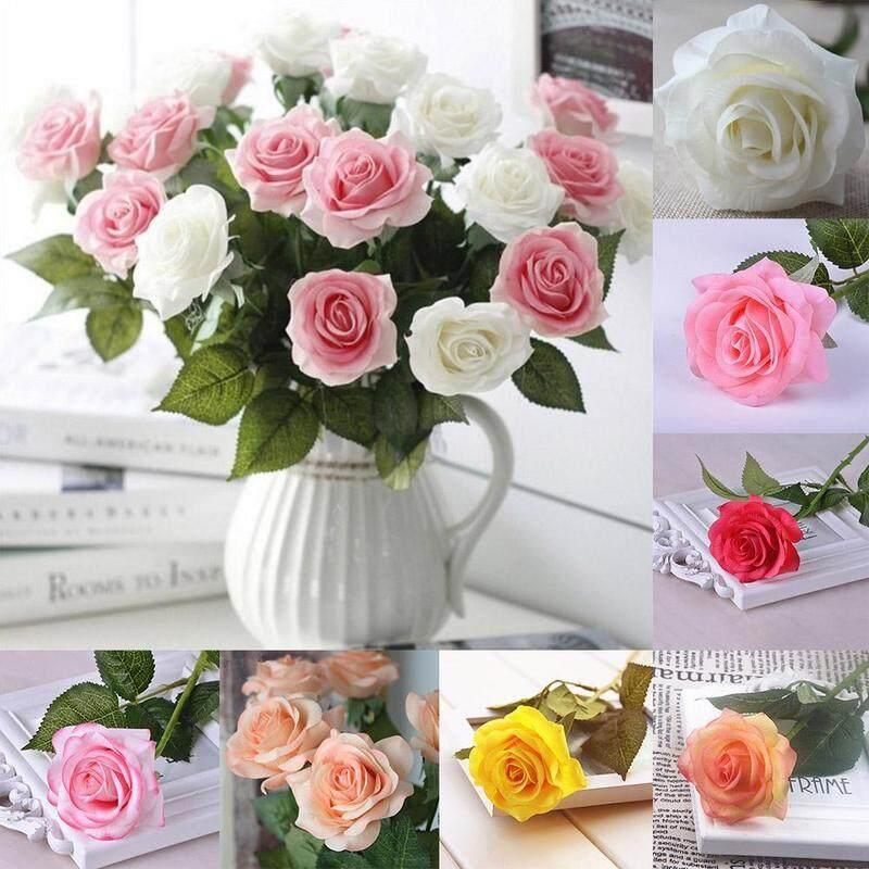 5 Pcs Simulasi Tinggi Lateks Naik Bunga-Bunga Buatan Buket Pernikahan Pengantin Wanita Dekorasi Rumah