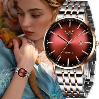 LIGE 2021 Đồng Hồ Nữ Dây đeo bằng thép vàng hồng chống nước Đồng hồ nữ có lịch Đồng hồ thạch anh + Hộp thumbnail