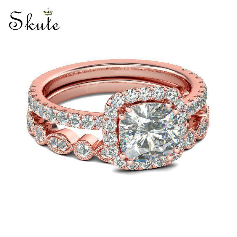 02a26562b ❤SKute Jewelry 2pcs Square Crystal Ring Rose Gold Band Style Big Diamond  Luxury Wedding Rings